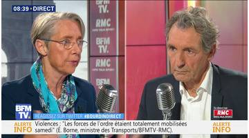 Elisabeth Borne face à Jean-Jacques Bourdin en direct