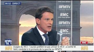 Manuel Valls face à Jean-Jacques Bourdin en direct