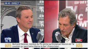 Nicolas Dupont-Aignan face à Jean-Jacques Bourdin en direct