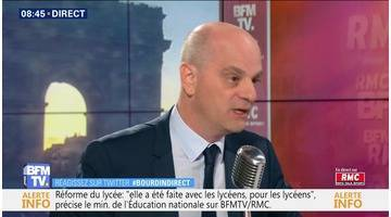 Jean-Michel Blanquer face à Jean-Jacques Bourdin en direct